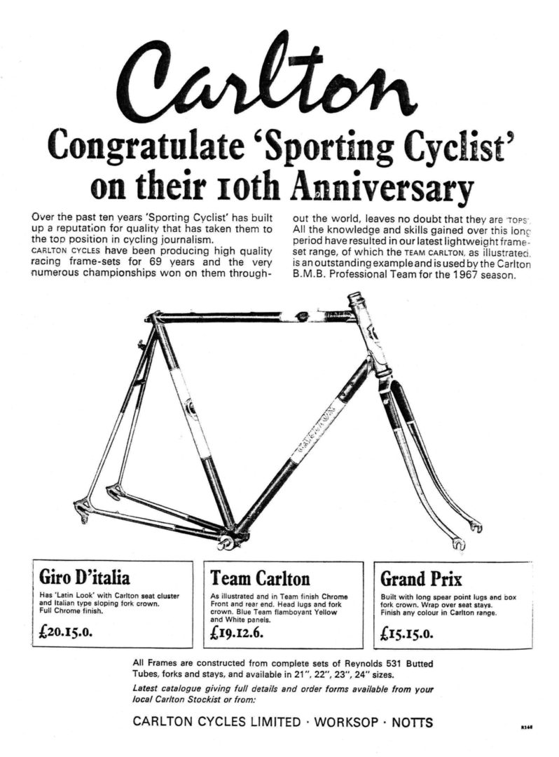 Carlton Cycles Sporting Cyclist Advertisement May 1967