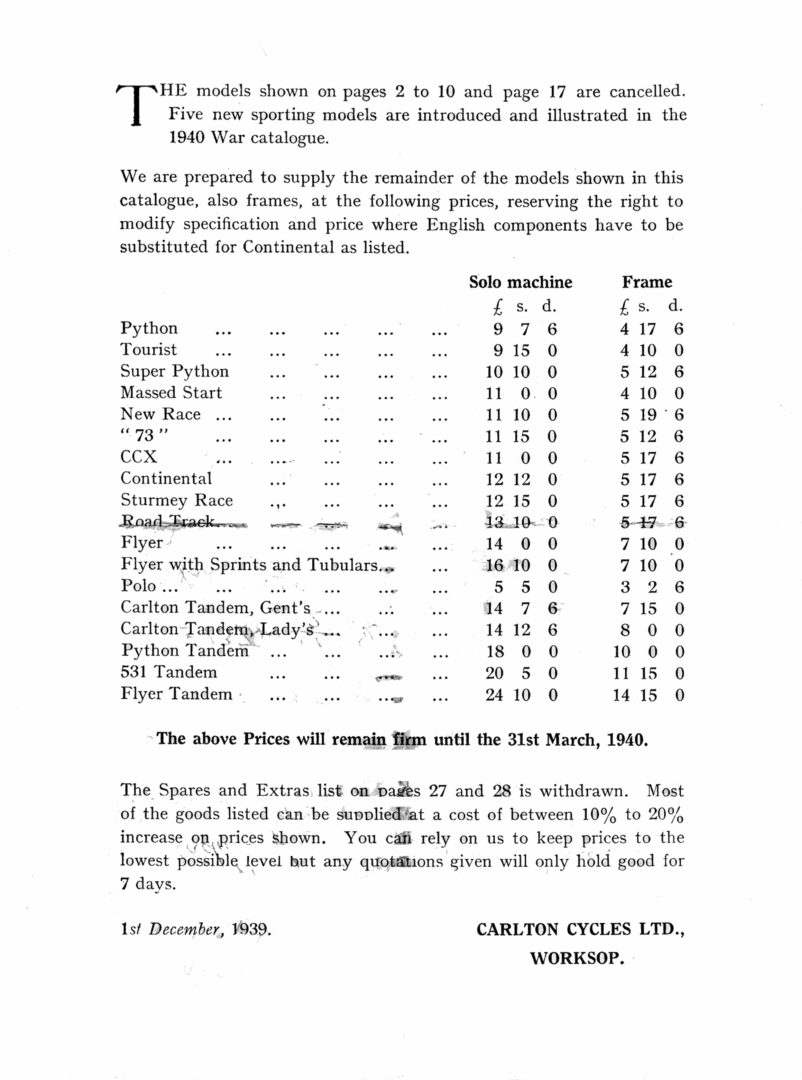 1939 Carlton Cycles Price List