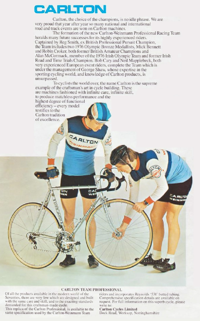 1977 Carlton Cycles Choice of Champions Advertisement
