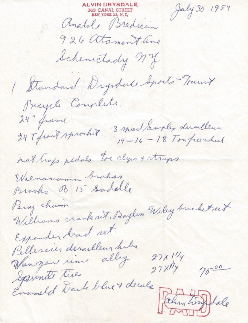 Alvin Drysdale Build Sheet 7-30-1954