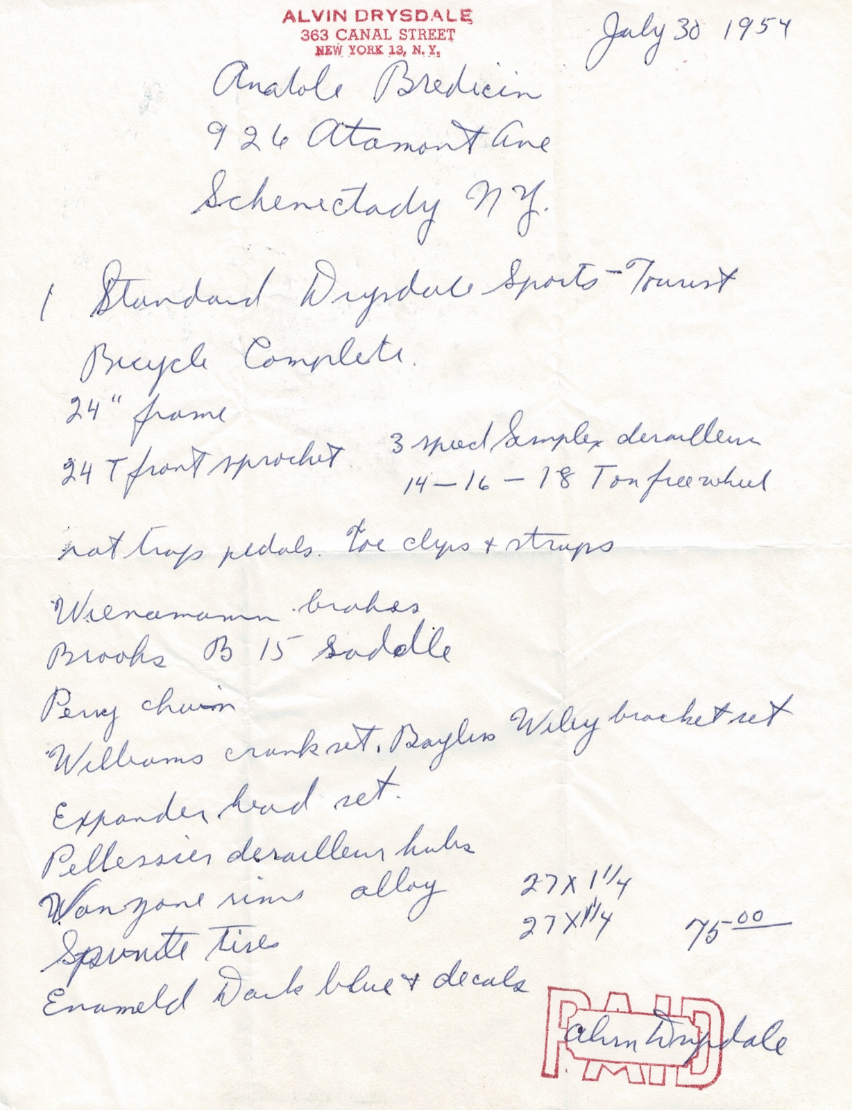 Alvin Drysdale Build Sheet 7-30-1954