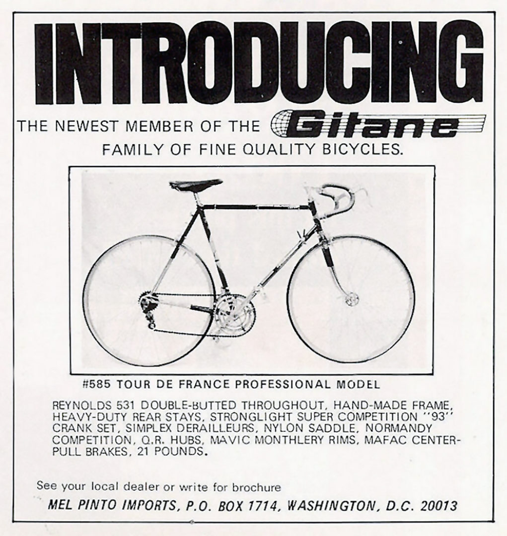 Gitane Tour de France 1970 Mel Pinto Imports Advertisement