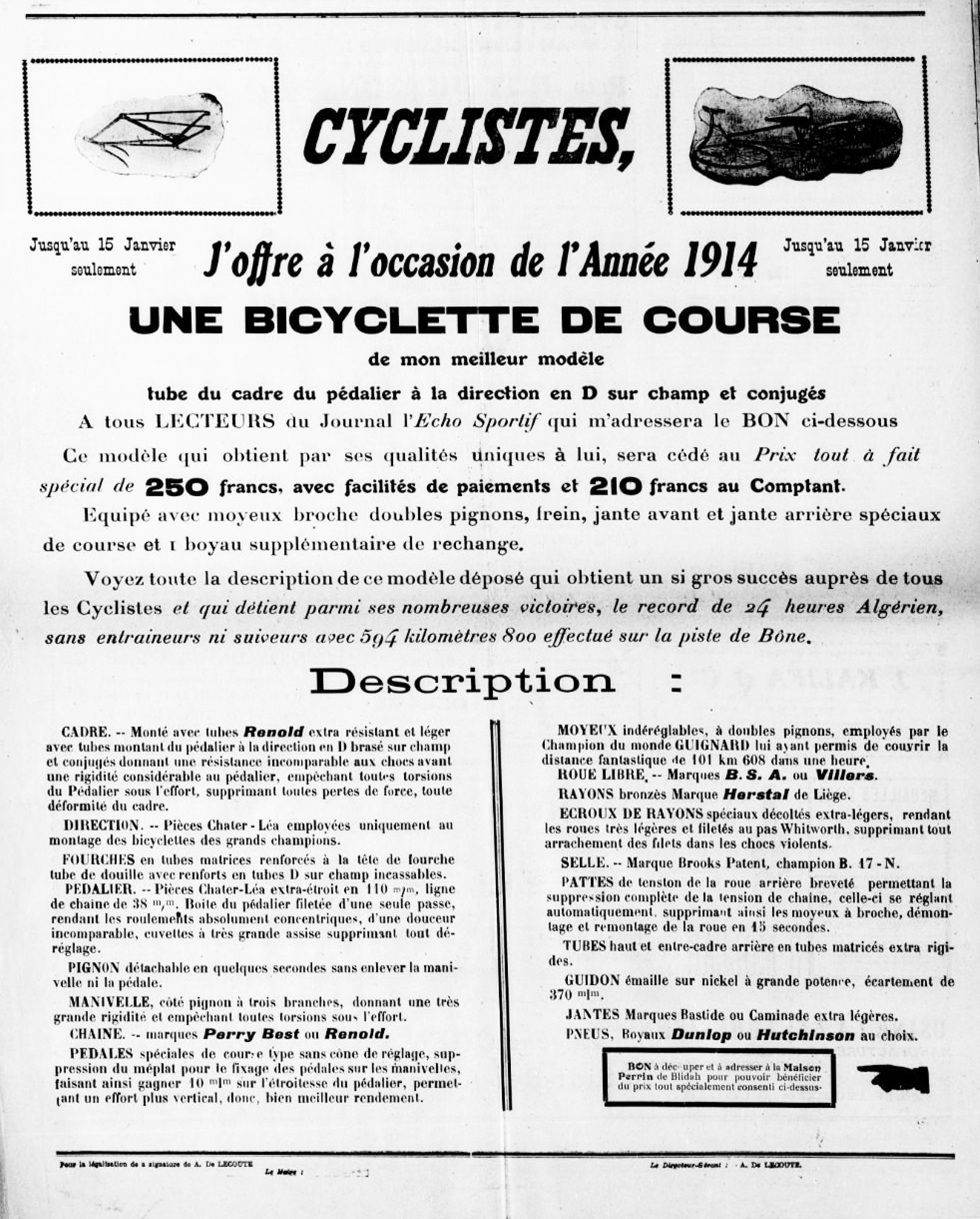 Caminade Reference in l'Echo Sportif from January 1914