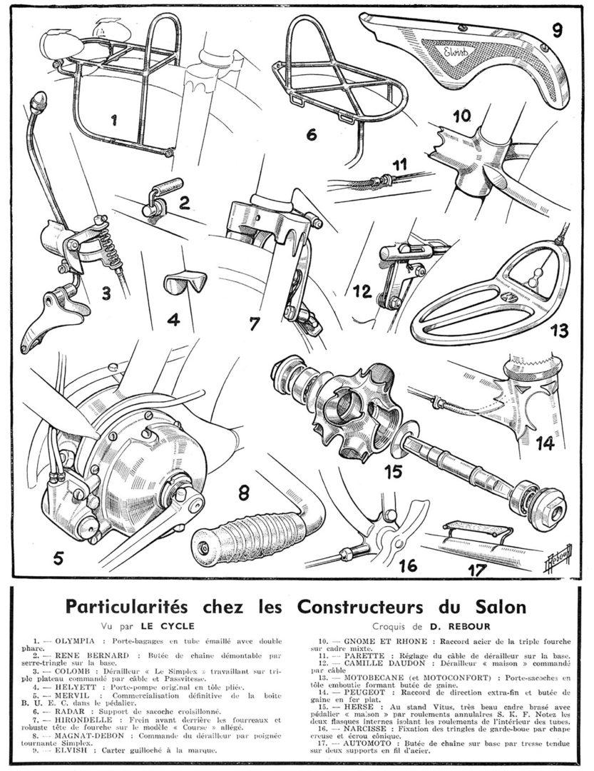 ebykr-daniel-rebour-particularites-chez-les-constructeurs-du-salon-12-3-1949 (Random Rebour: Random Bicycle Drawing by Daniel Rebour)